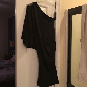 Black one shoulder dress with embellishment